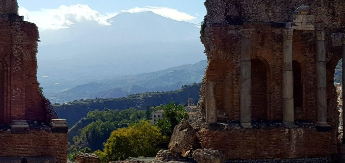 The view from the Taormina greek theatre